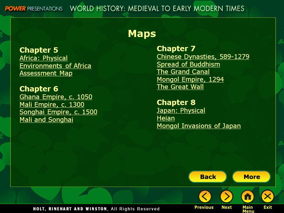 Maps Chapter 7 Chapter 5 Chapter 6 Chapter 8