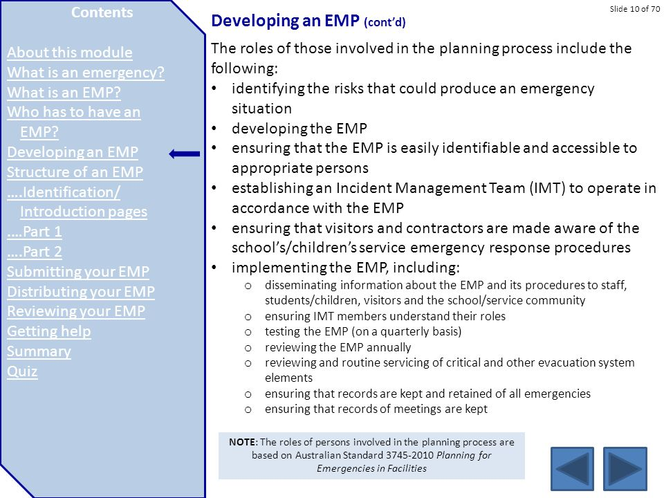 Developing an EMP (cont'd)