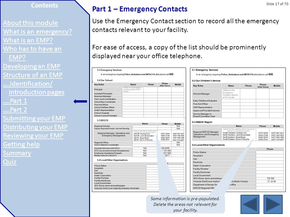 Part 1 – Emergency Contacts