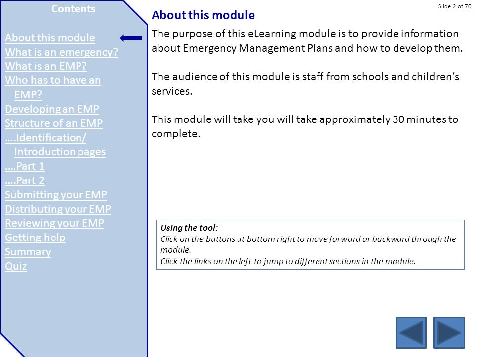 About this module Contents About this module What is an emergency