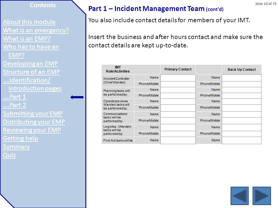 Part 1 – Incident Management Team (cont'd)