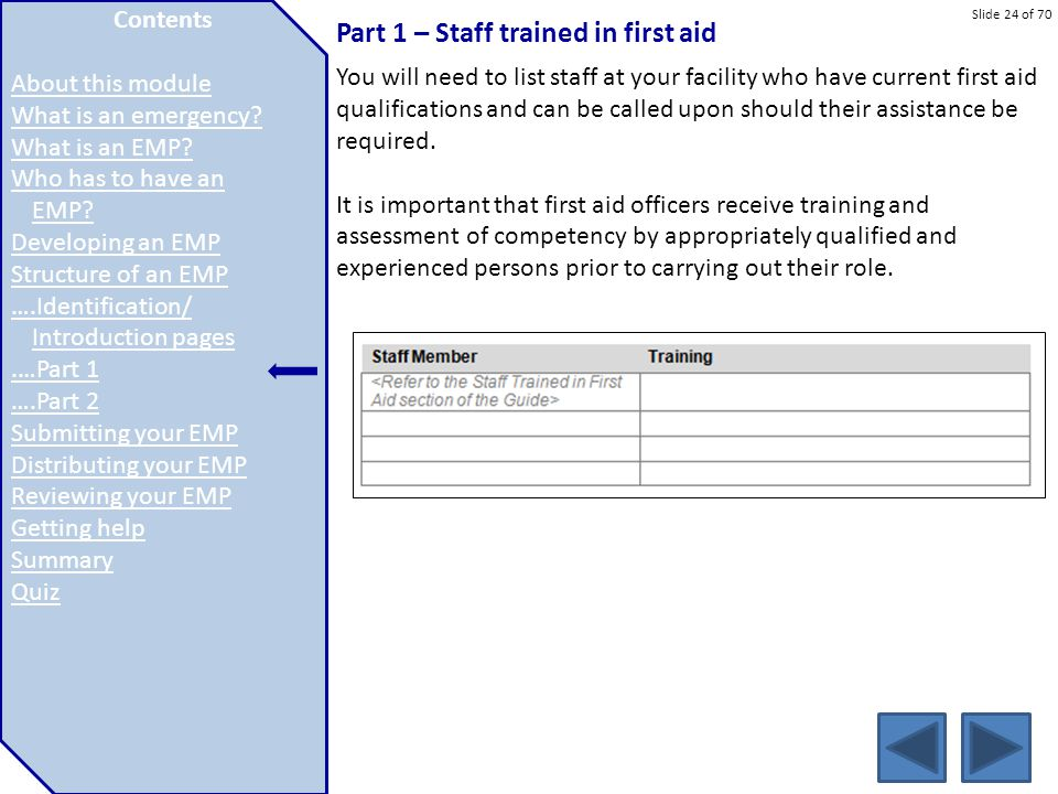 Part 1 – Staff trained in first aid