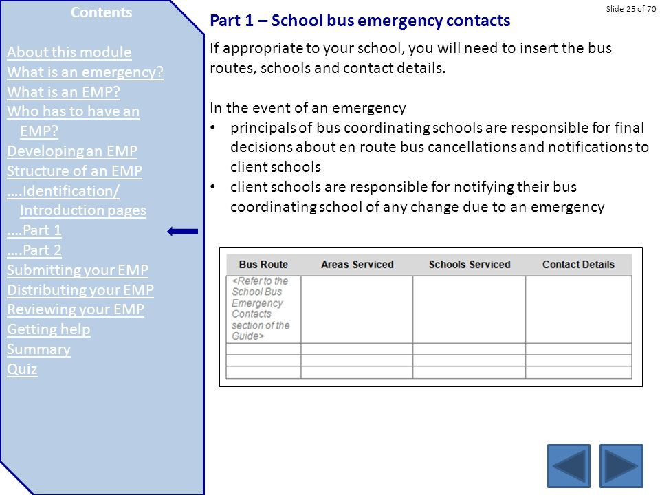 Part 1 – School bus emergency contacts