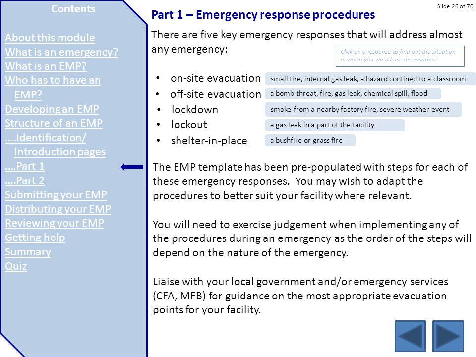 Part 1 – Emergency response procedures