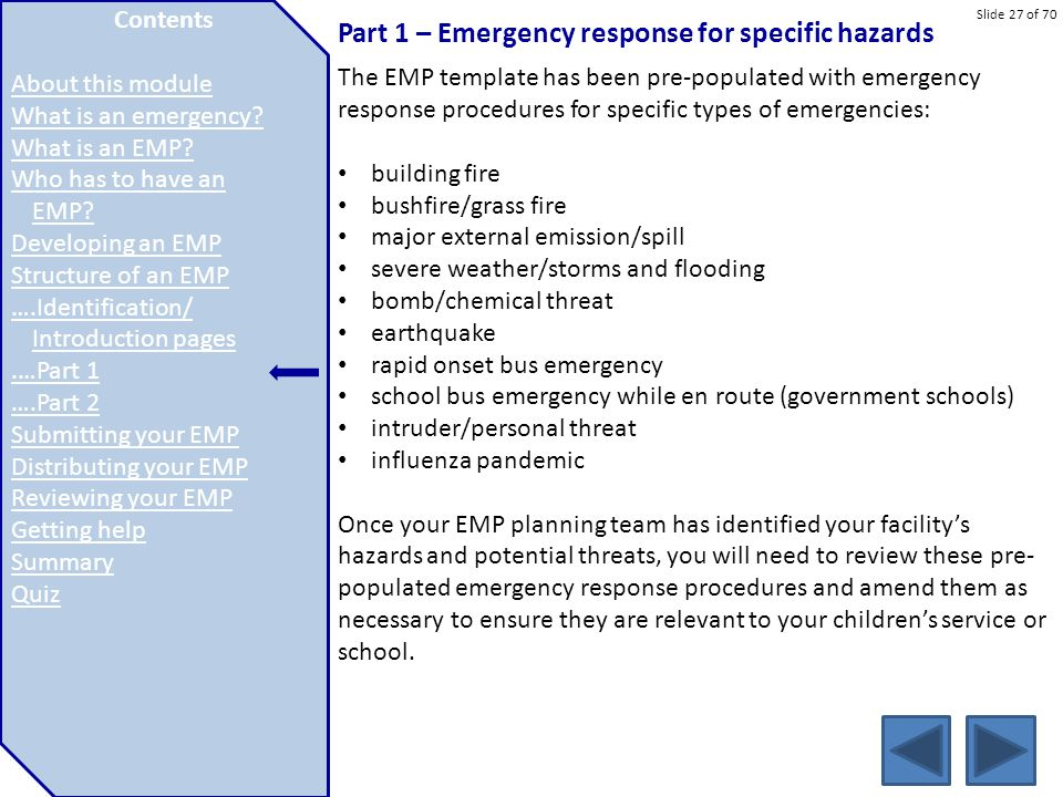 Part 1 – Emergency response for specific hazards