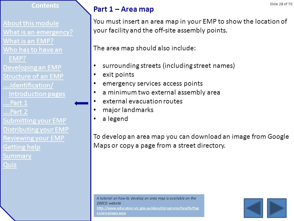 Part 1 – Area map Contents About this module What is an emergency