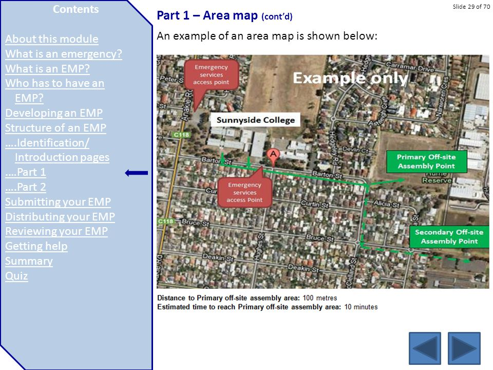 Part 1 – Area map (cont'd)
