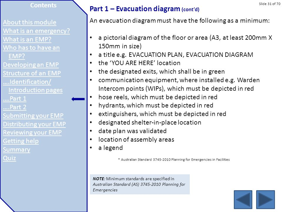 Part 1 – Evacuation diagram (cont'd)