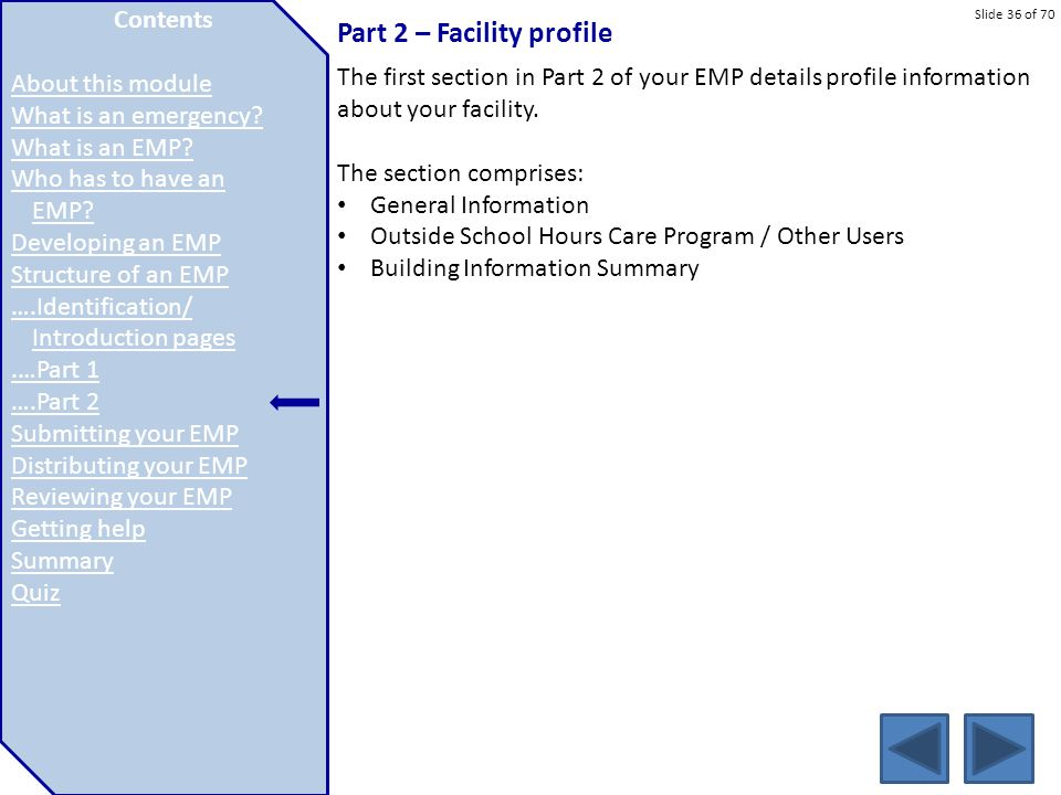 Part 2 – Facility profile