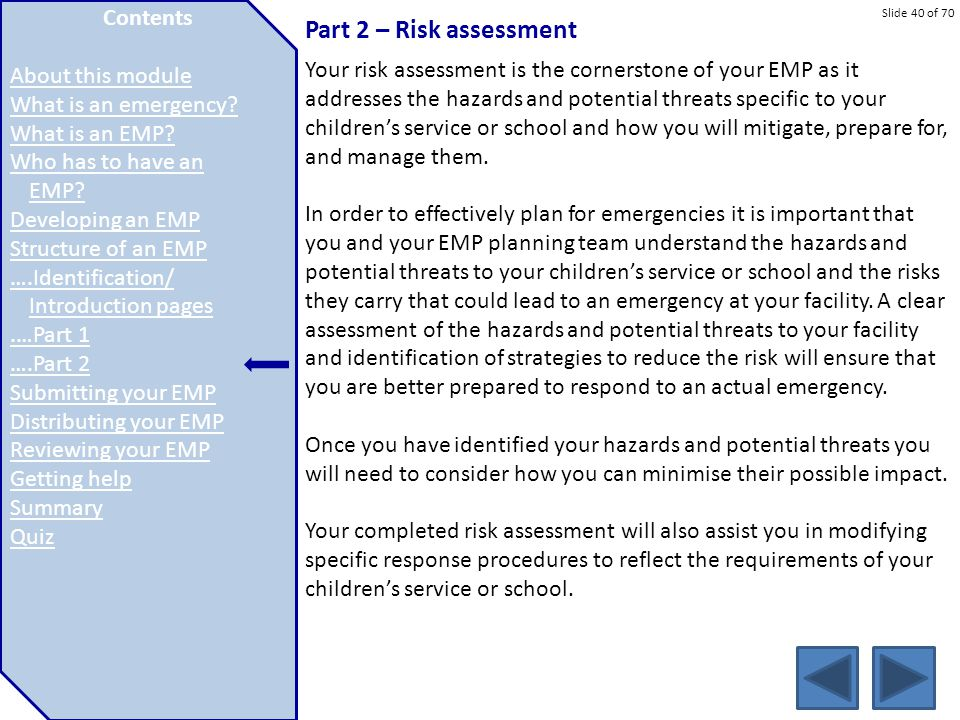 Part 2 – Risk assessment Contents About this module