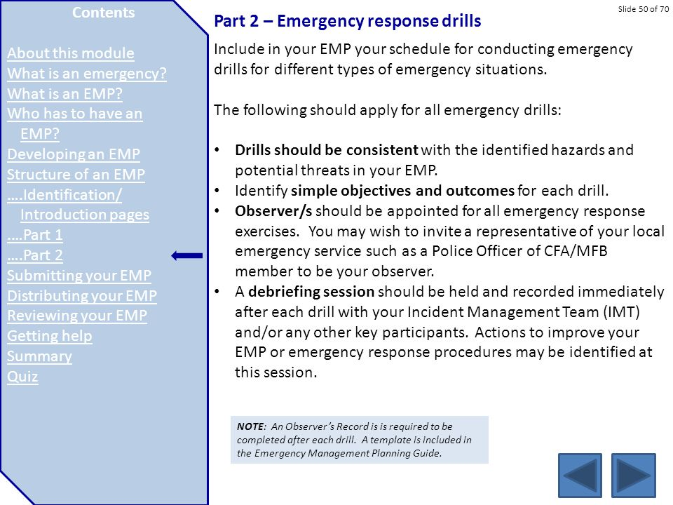 Part 2 – Emergency response drills