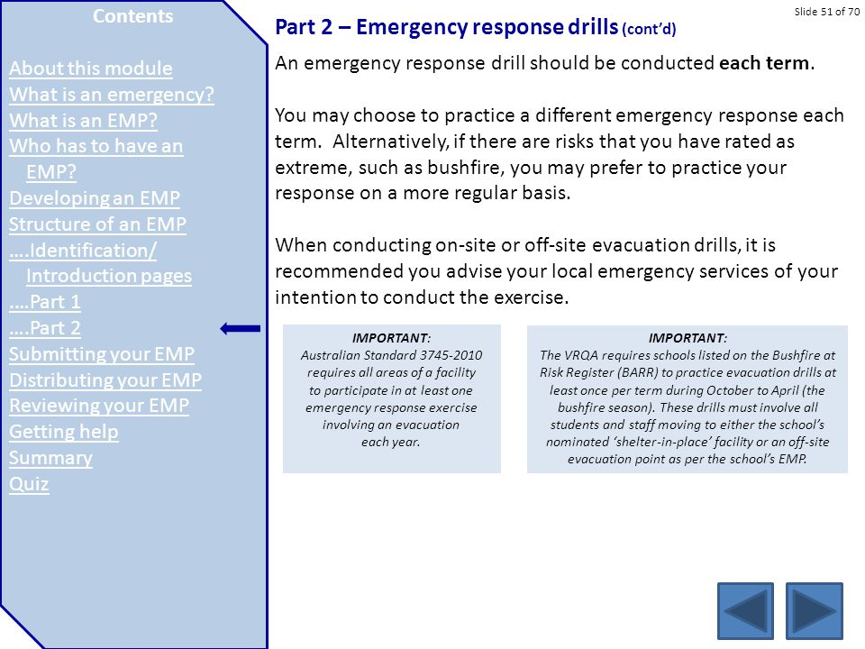 Part 2 – Emergency response drills (cont'd)