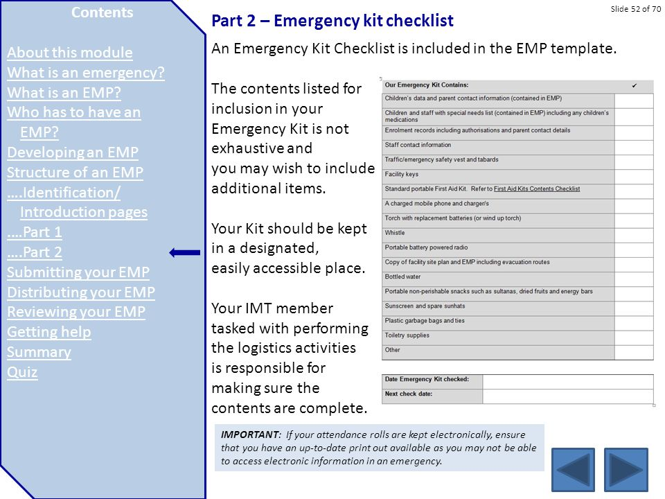 Part 2 – Emergency kit checklist