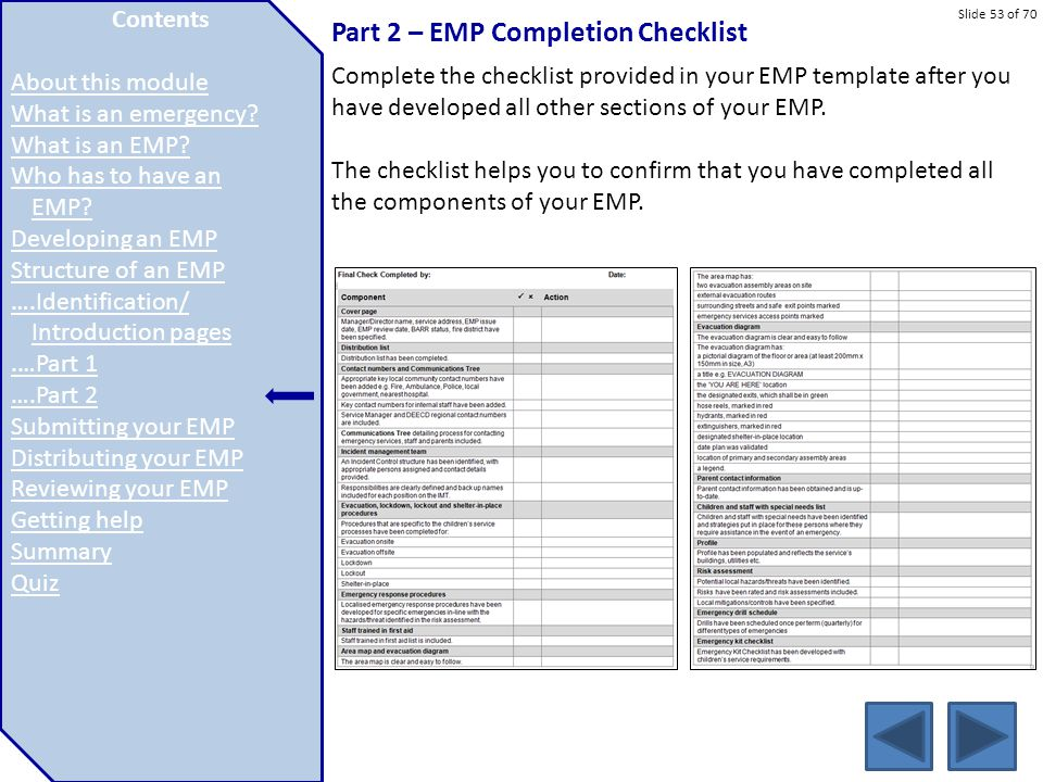 Part 2 – EMP Completion Checklist