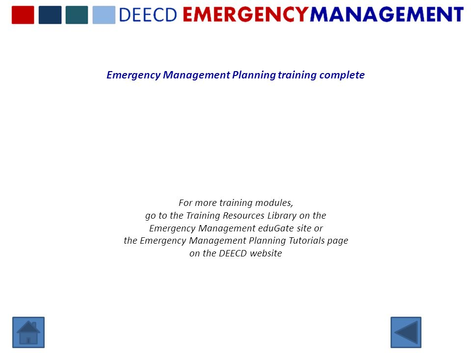 Emergency Management Planning training complete