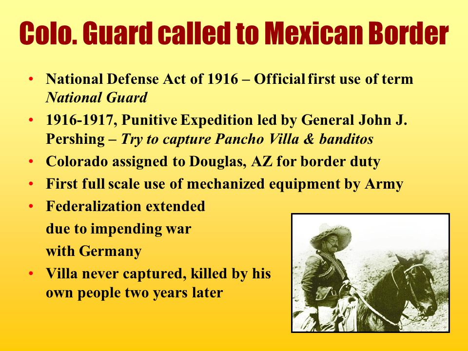 Colo. Guard called to Mexican Border