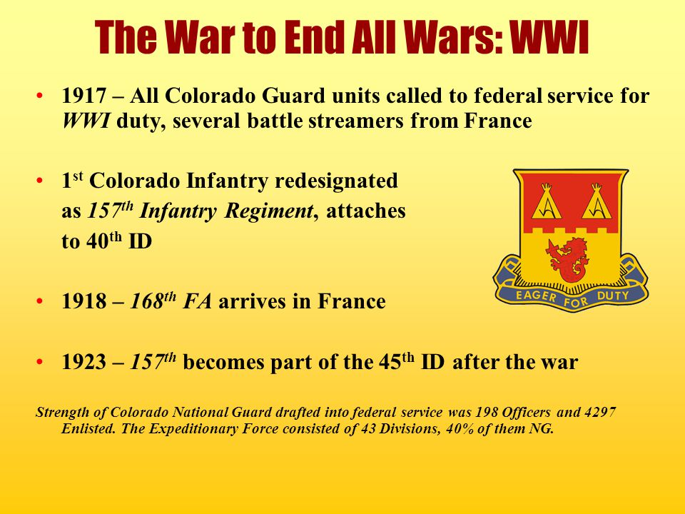 The War to End All Wars: WWI