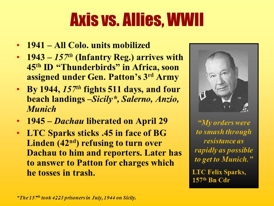Axis vs. Allies, WWII 1941 – All Colo. units mobilized