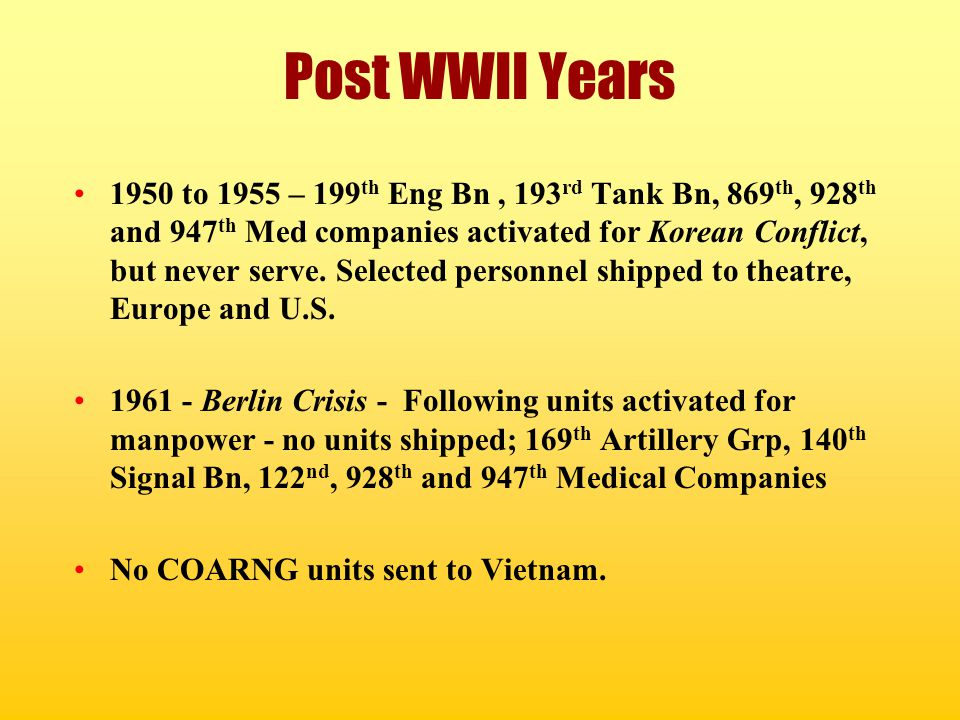 Post WWII Years