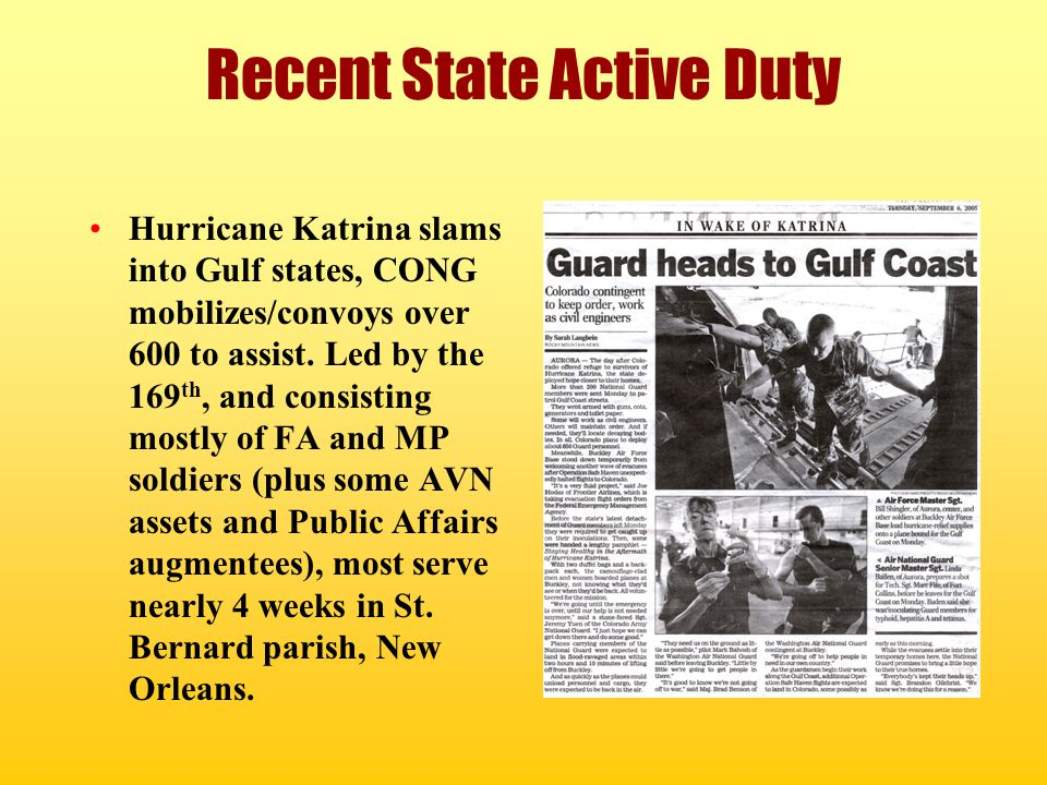 Recent State Active Duty