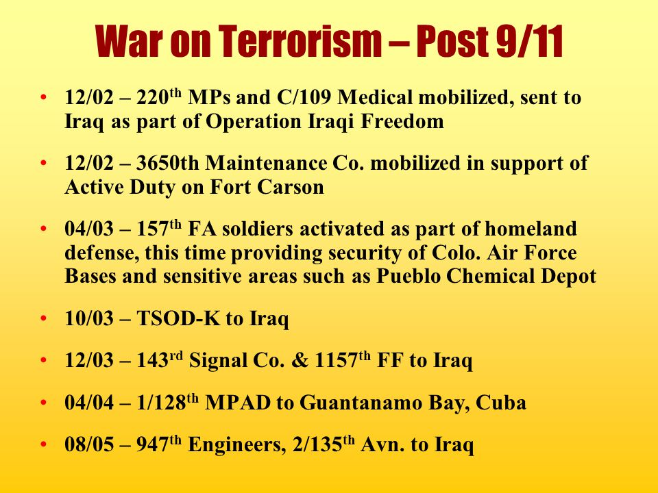 War on Terrorism – Post 9/11