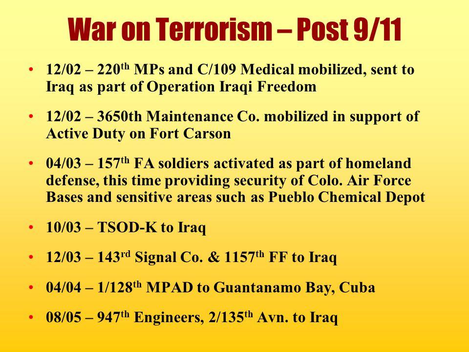 War on Terrorism – Post 9/11