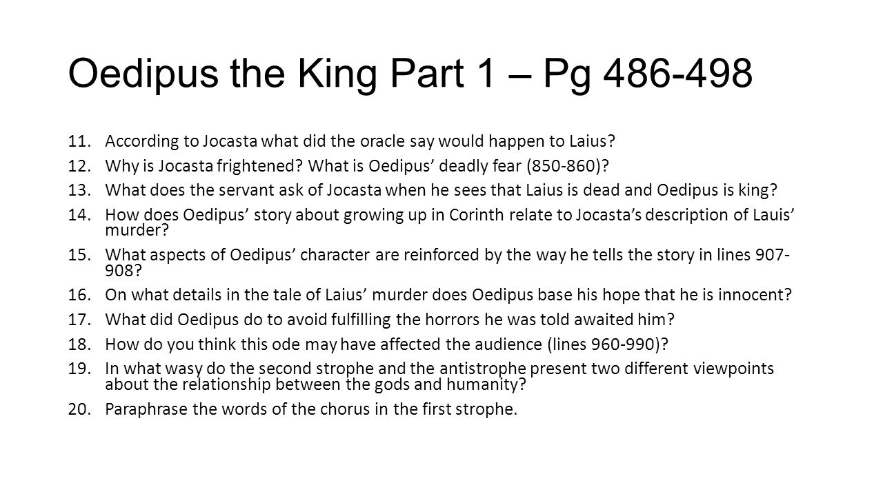 Oedipus the King Part 1 – Pg 486-498