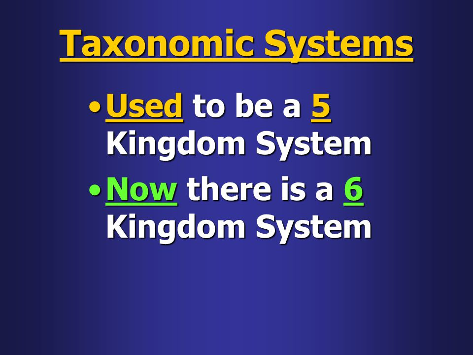 Taxonomic Systems Used to be a 5 Kingdom System