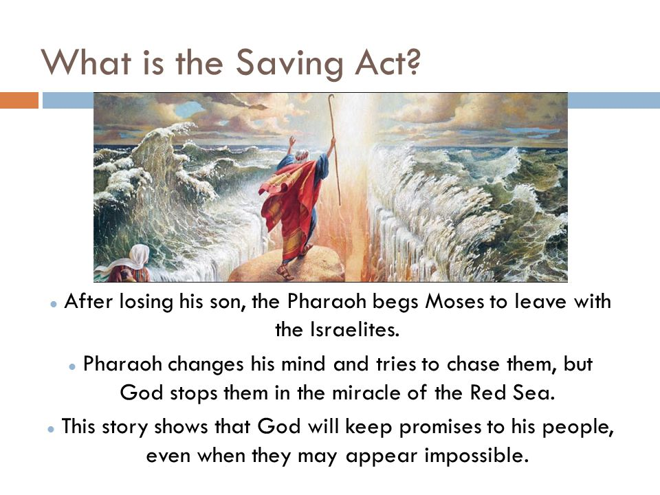 What is the Saving Act After losing his son, the Pharaoh begs Moses to leave with the Israelites.
