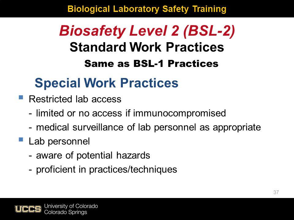 Biosafety Level 2 (BSL-2) Standard Work Practices