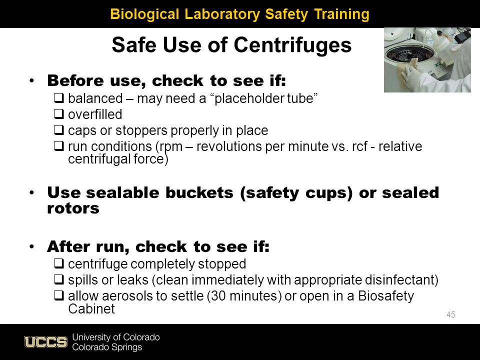 Safe Use of Centrifuges