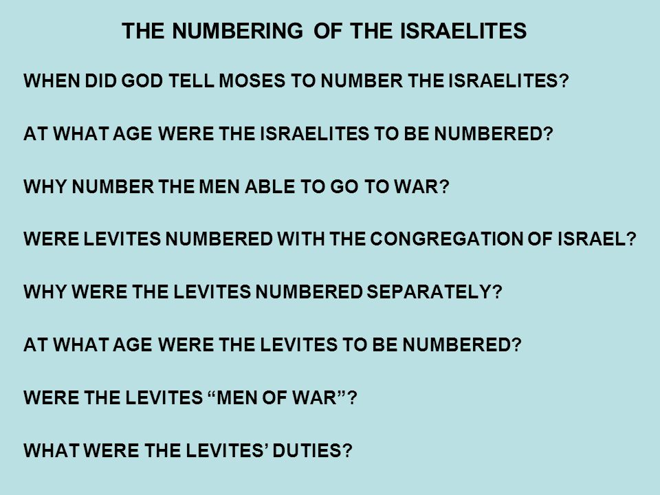 THE NUMBERING OF THE ISRAELITES
