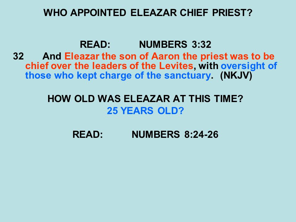 WHO APPOINTED ELEAZAR CHIEF PRIEST