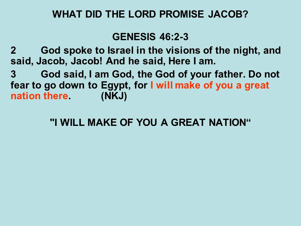 WHAT DID THE LORD PROMISE JACOB