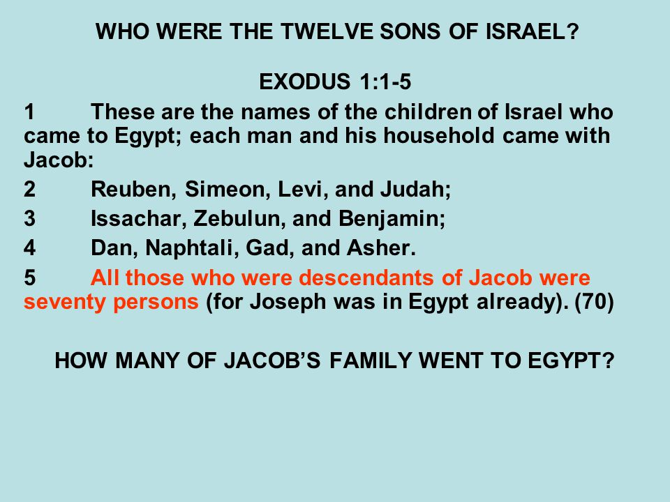 WHO WERE THE TWELVE SONS OF ISRAEL