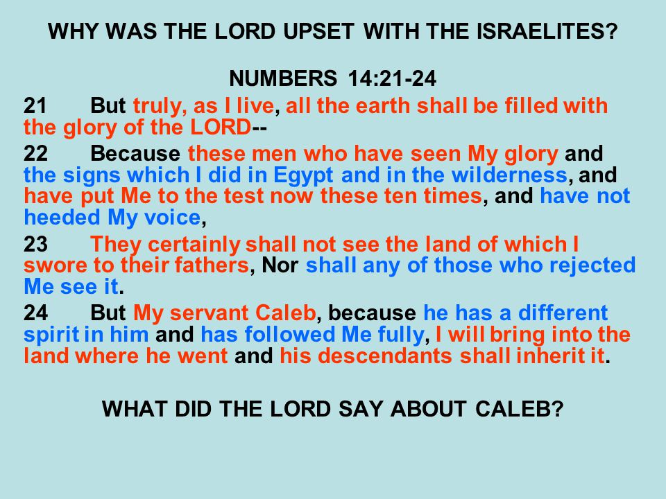 WHY WAS THE LORD UPSET WITH THE ISRAELITES