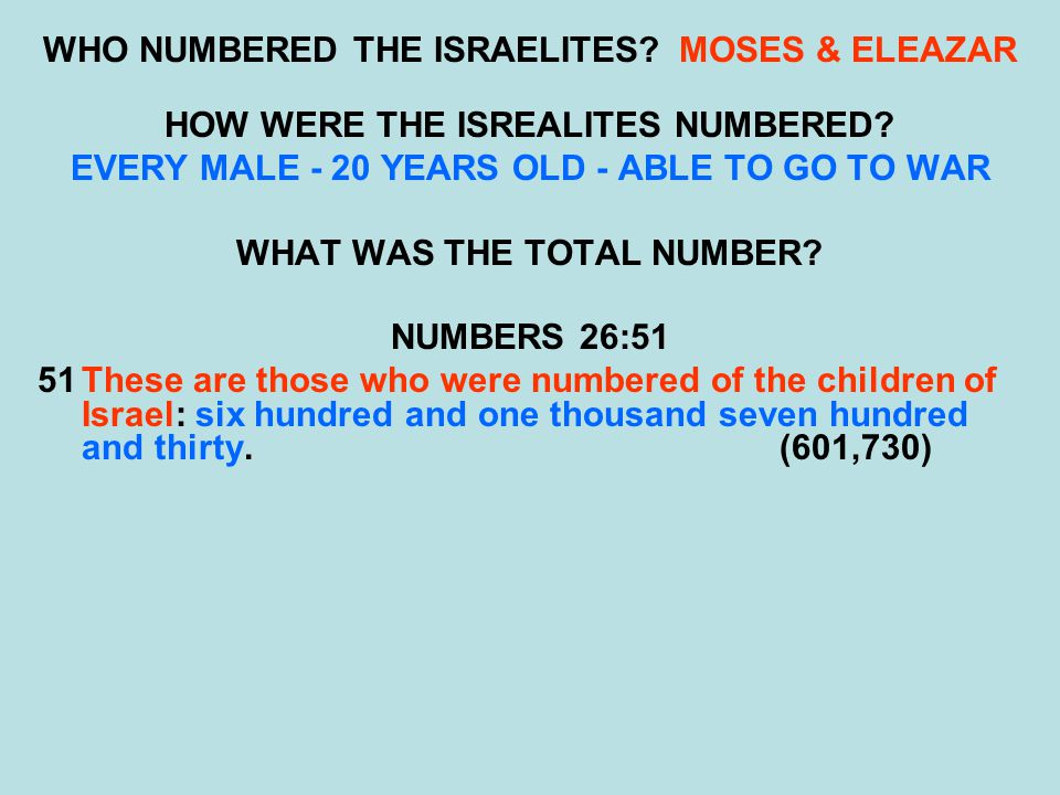 WHO NUMBERED THE ISRAELITES MOSES & ELEAZAR