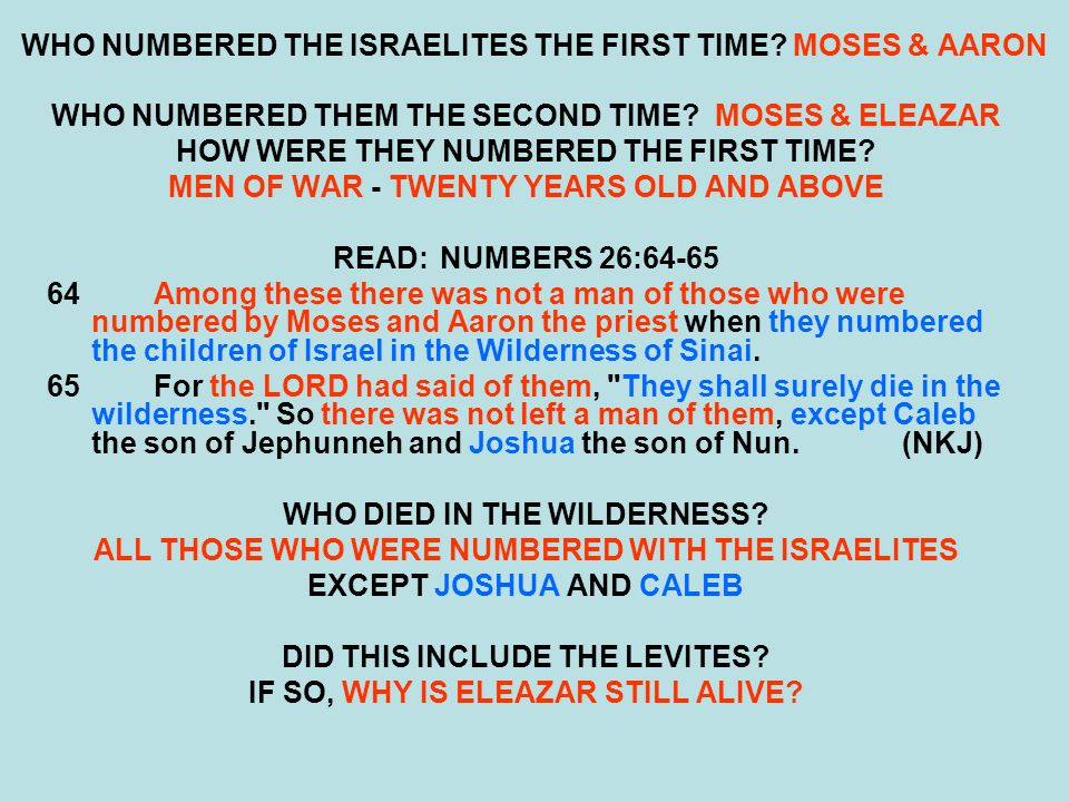 WHO NUMBERED THE ISRAELITES THE FIRST TIME MOSES & AARON