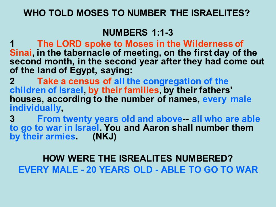 WHO TOLD MOSES TO NUMBER THE ISRAELITES