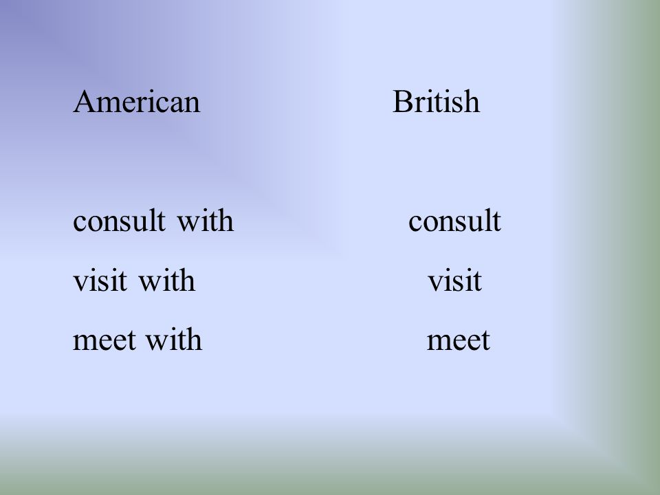 American British consult with consult. visit with visit.