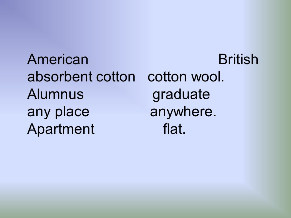 American British absorbent cotton cotton wool.