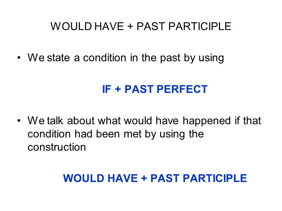 WOULD HAVE + PAST PARTICIPLE