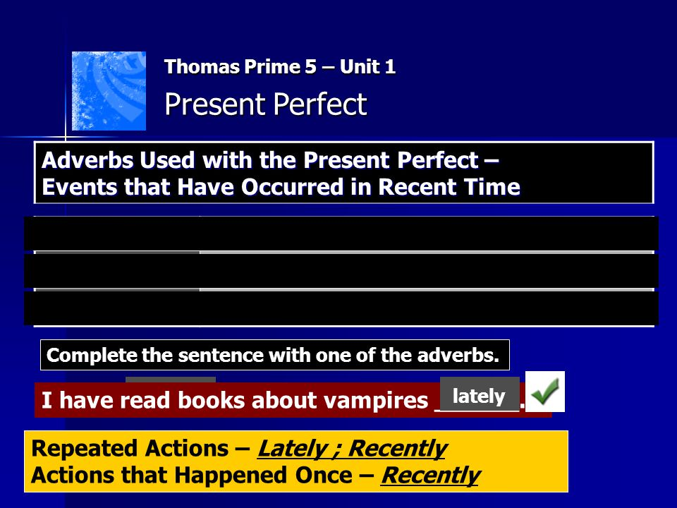 Thomas Prime 5 – Unit 1 Present Perfect. Adverbs Used with the Present Perfect – Events that Have Occurred in Recent Time.