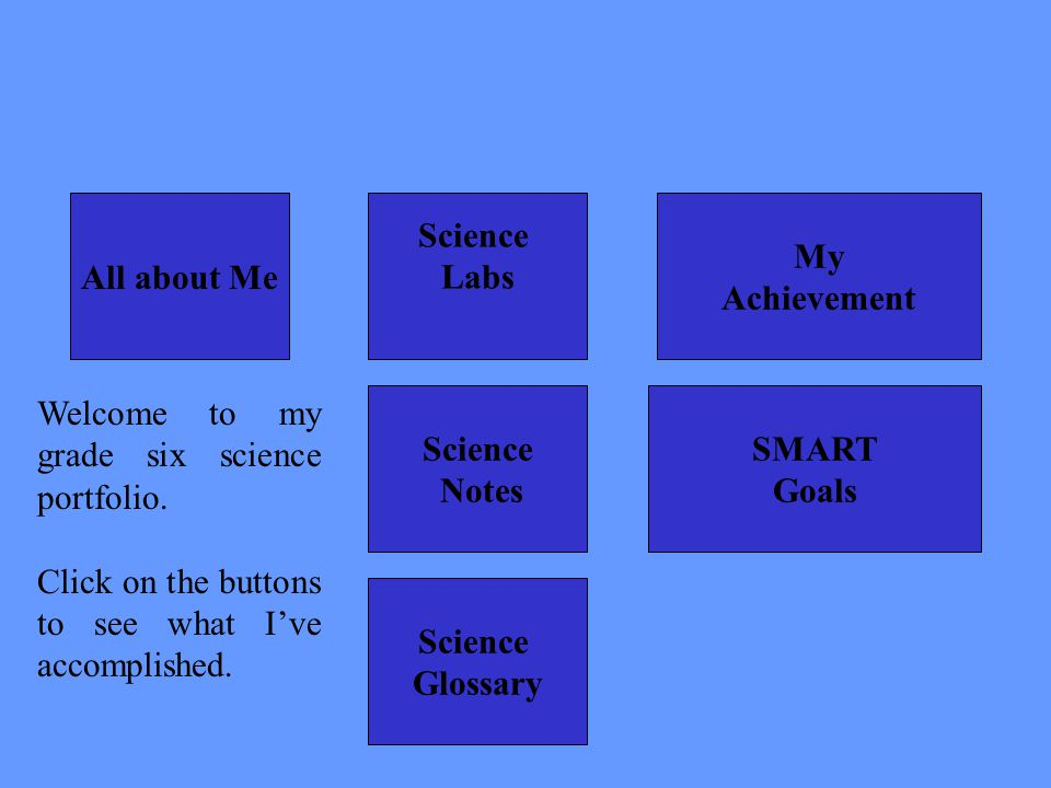 All about Me Science. Labs. My. Achievement. Welcome to my grade six science portfolio. Click on the buttons to see what I've accomplished.