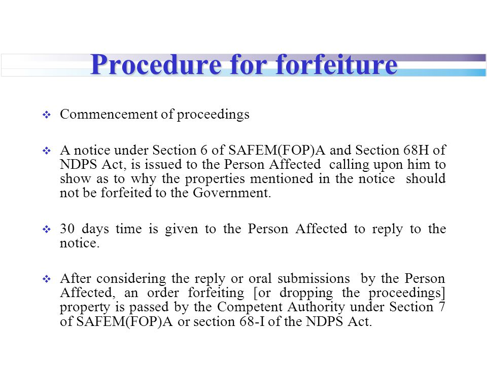Procedure for forfeiture