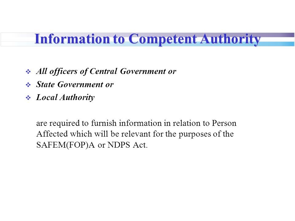 Information to Competent Authority
