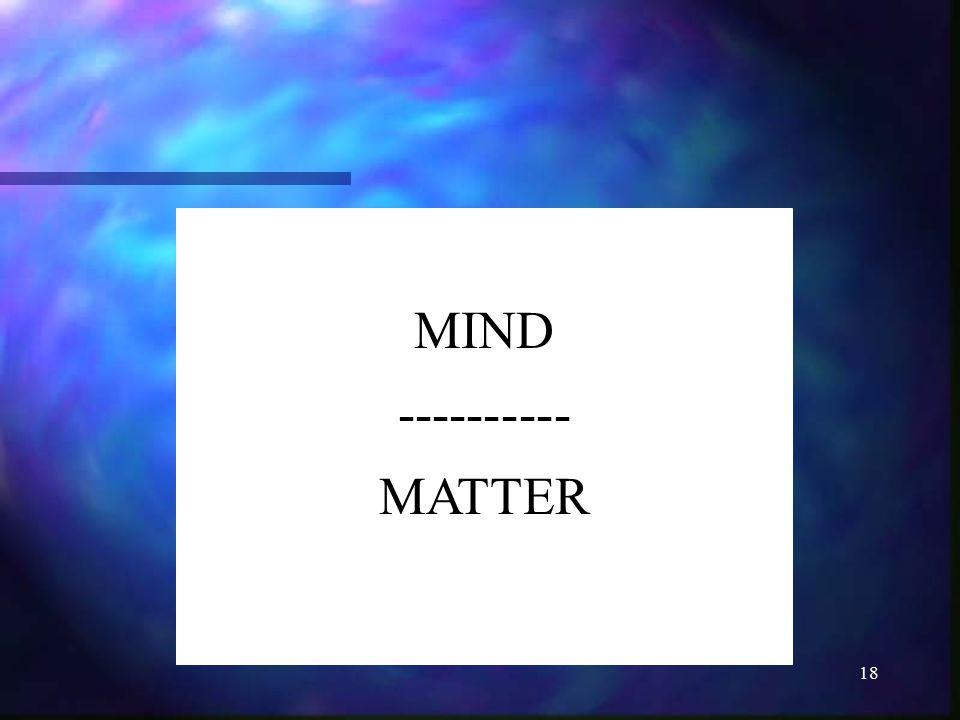 MIND ---------- MATTER
