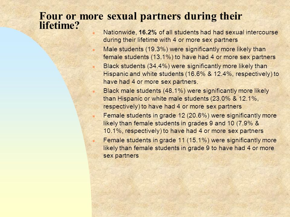Four or more sexual partners during their lifetime