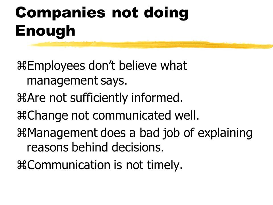 Companies not doing Enough