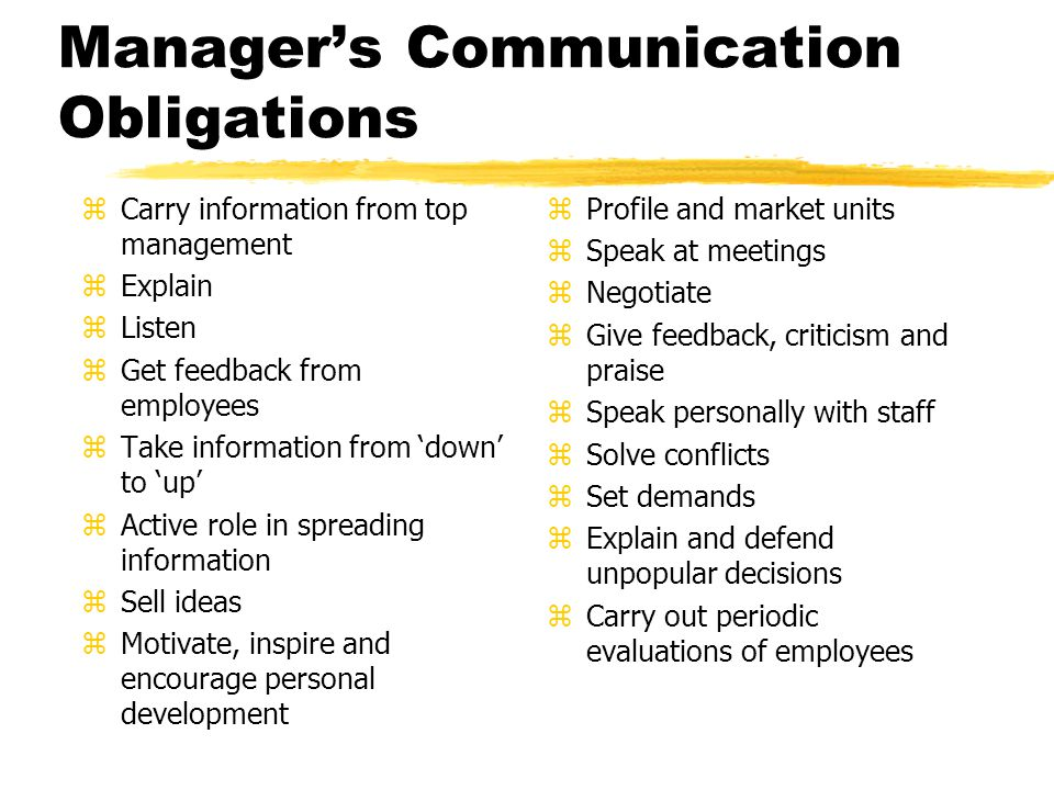Manager's Communication Obligations